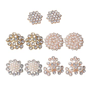 Card perfektchoice 10Pcs Rhinestone Flat Back Embellishment Crystal Buttons for Garment Bags Headband Gift Wrapping Decoration