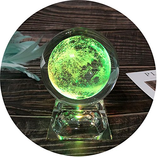 Moon Night Lamp-Moon Crystal Night Light-3D Moon Projector, 80mm (3.15 inch) Moon Ball Gifts with Lighting Base, Best Gift for Baby, Kids, Teacher of Physics, Classmates, Boyfriend and Girlfriend