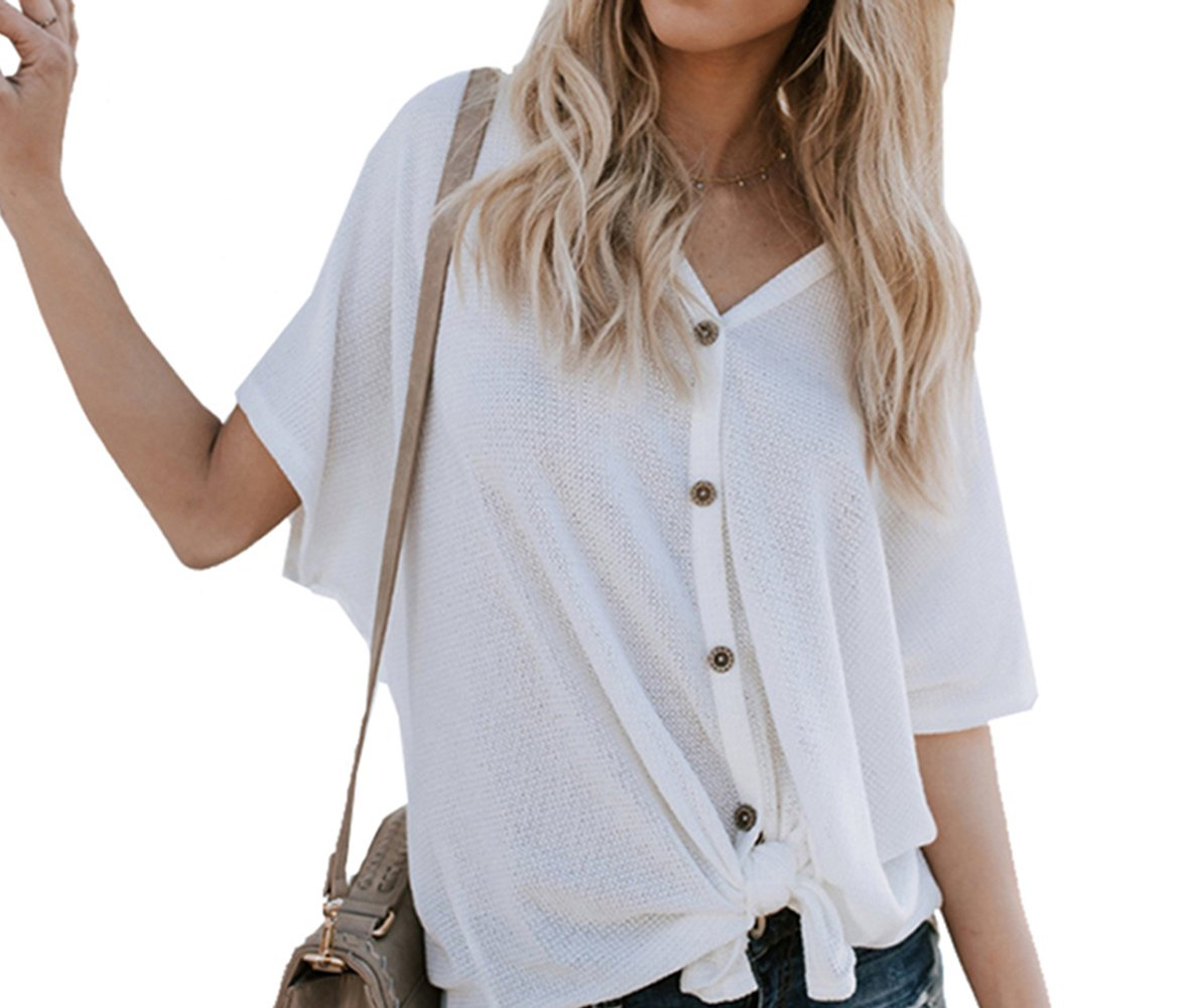 Women's Button Down Short Sleeve Tie Front Knot Loose Knit T Shirt Henley Tops [White S]