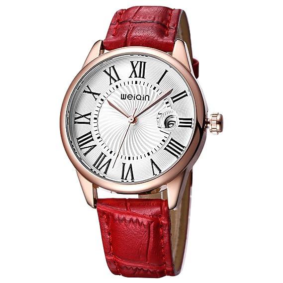 JIANGYUYAN cristal Fecha Fashion relojes mujer Oro rosa correa de piel funda reloj señoras relojes de