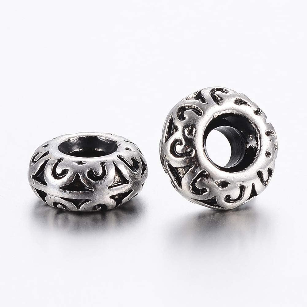 190pcs//Box Tibetan Alloy European Beads Antique Silver Large Hole Charms 6~9.5mm