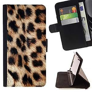 - Pattern Animal Fur Imitation Leopard - Estilo PU billetera de cuero del soporte del tir???¡¯????n [solapa de cierre] Cubierta- For HTC DESIRE 816 £š Devil Case £©