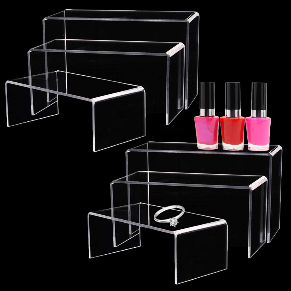 Clear Acrylic Display Risers Steps,2 Set 3 Size Clear Showcase Shelf with Sticky Protective Film,Display Cake Stands for Candy Dessert,Jewelry,Figures,Buffets