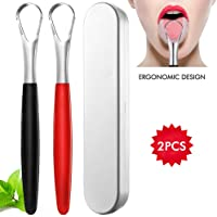 Stainless Steel Tongue Scraper Cleaner - Fresh Breath Tongue Scrapers Medical Grade Metal Tongue Scraping Cleaner with Carrying Case for Oral Care