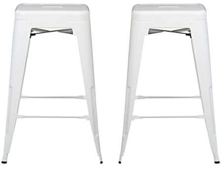Poly and Bark Trattoria 24 Counter Height Stool in White Set of 2