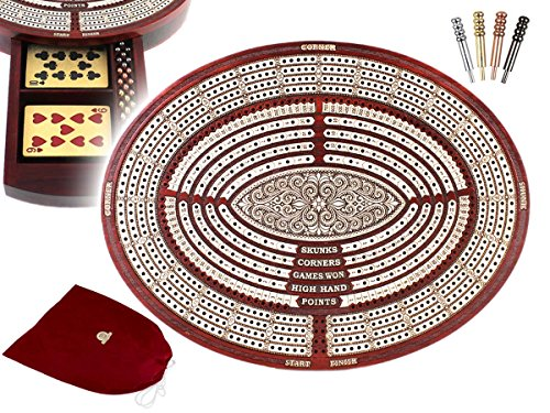 11.6″ Oval Shape 4 continuous tracks Cribbage Board / pegging boardwith score marking fields