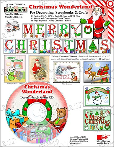 ScrapSMART - Christmas Wonderland Software - for Crafts, Cards, Sewing and Quilting - Jpeg and PDF Files - Software Sewing