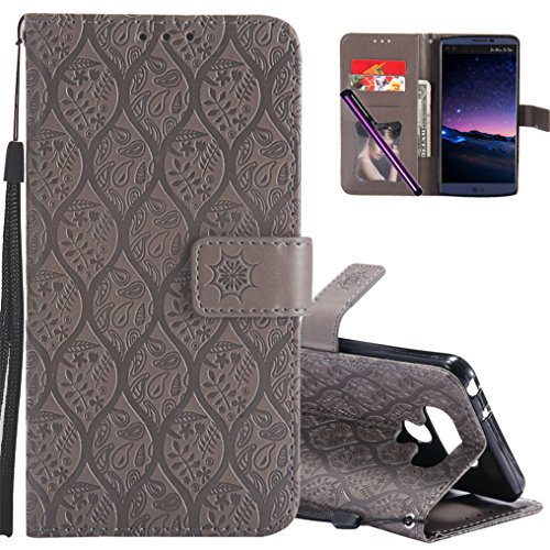 LG Q8 Leather Case COTDINFORCA Premium PU Flip Book Style Kickstand Embossed Design Magnetic Protective Cover with Card Slots for LG Q8/LG V20 Mini. Rattan Gray