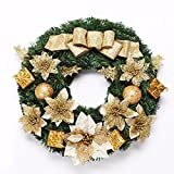 Christmas Garland for Stairs fireplaces Christmas Garland Decoration Xmas Festive Wreath Garland with Golden Garland,60cm