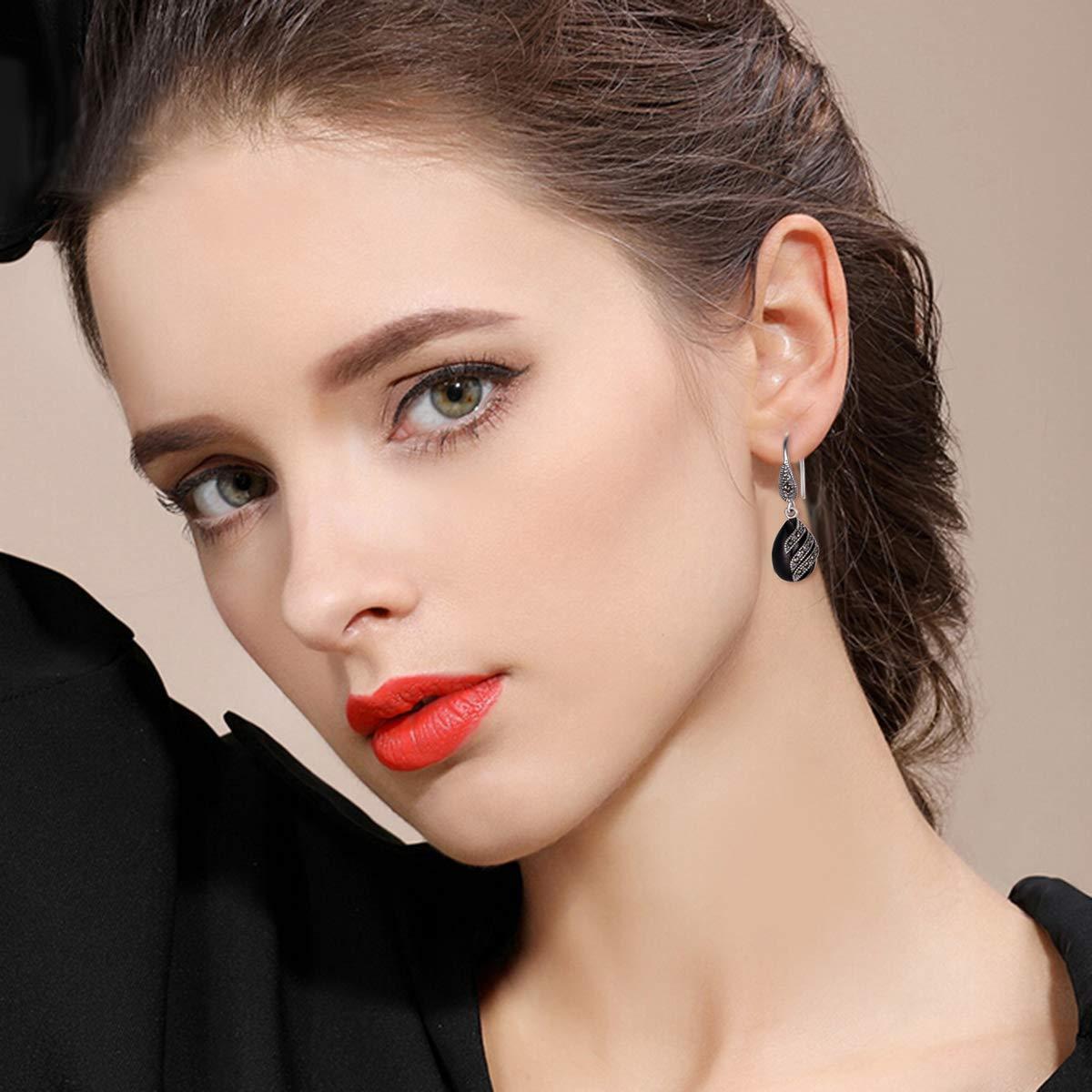 EVER FAITH 925 Sterling Silver Garnet Gemstone Crystal Art Nouveau Inlay Teardrop Hook Earrings
