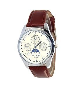 Souarts Mens Brown Artificial Leather White Dial Quartz Analog Wrist Watch 24cm