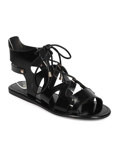 21dad1d3060 Liliana Women Leatherette Peep Toe Lace Up Ankle Cutout Gladiator Sandal  ED79 - Black (Size