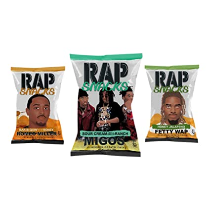 Paquete de 3 bolsas de patatas de Rap Snacks – MIGOS, Romeo ...