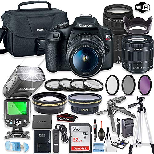 Canon EOS Rebel T7 Camera w/Canon EF-S 18-55mm is II Lens & 75-300mm f/4-5.6 III Lens + 32GB Sandisk Memory + Canon Case + TTL Speedlight Flash (Good Up-to 180 Feet) + Accessory Bundle