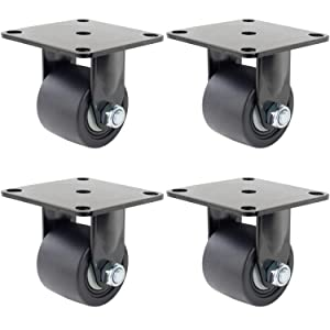 Dr.Luck 2.5 Inch Black Top Plate Fixed with 50mm Width Hi-Temp Nylon Wheel Heavy Duty Caster Double Ball Bearing Low Center of Gravity Total Load Capacity 4400 Lbs Set of 4