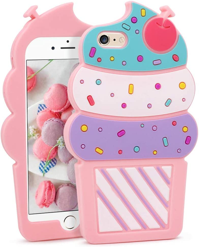 Megantree Cute iPhone 6 Case, iPhone 6S Case, 3D Cartoon Ice Cream Cherry Cupcakes Shaped Soft Silicone Rubber Full Protection Shockproof Case Cover for Girls Women Lady