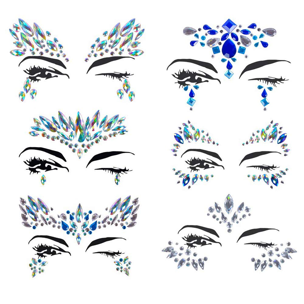 Christmas Face jewels festival Women Mermaid Face Gems Glitter 6 Sets Rhinestone Rave Festival Face Jewels,Crystals Face Stickers Eyes Face Body Temporary Tattoos