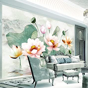 Amazon Com Xbwy Chinese Style 3d Stereo Watercolor Lotus Mural Wallpaper Living Room Tv Sofa Bedroom Backdrop Wall Home Decor 3d 200x140cm Kitchen Dining