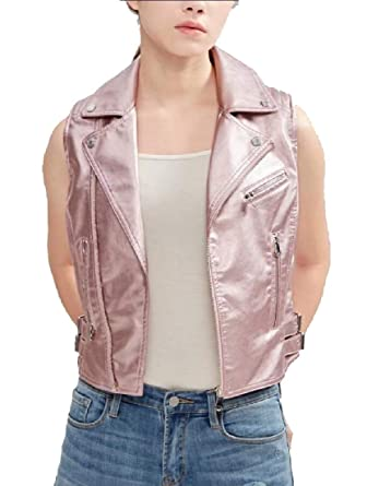 72990b4a1066 ainr Women Faux Leather Sleeveless Vest Jacket Motorcycle Vest Pink XS