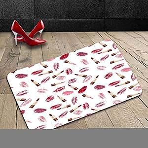 Custom lavable Felpudo cosméticos belleza tema rosa y rojo labios y beso patrón maquillaje concepto Burdeos y rosa interior/al aire libre Felpudo alfombra alfombra alfombra