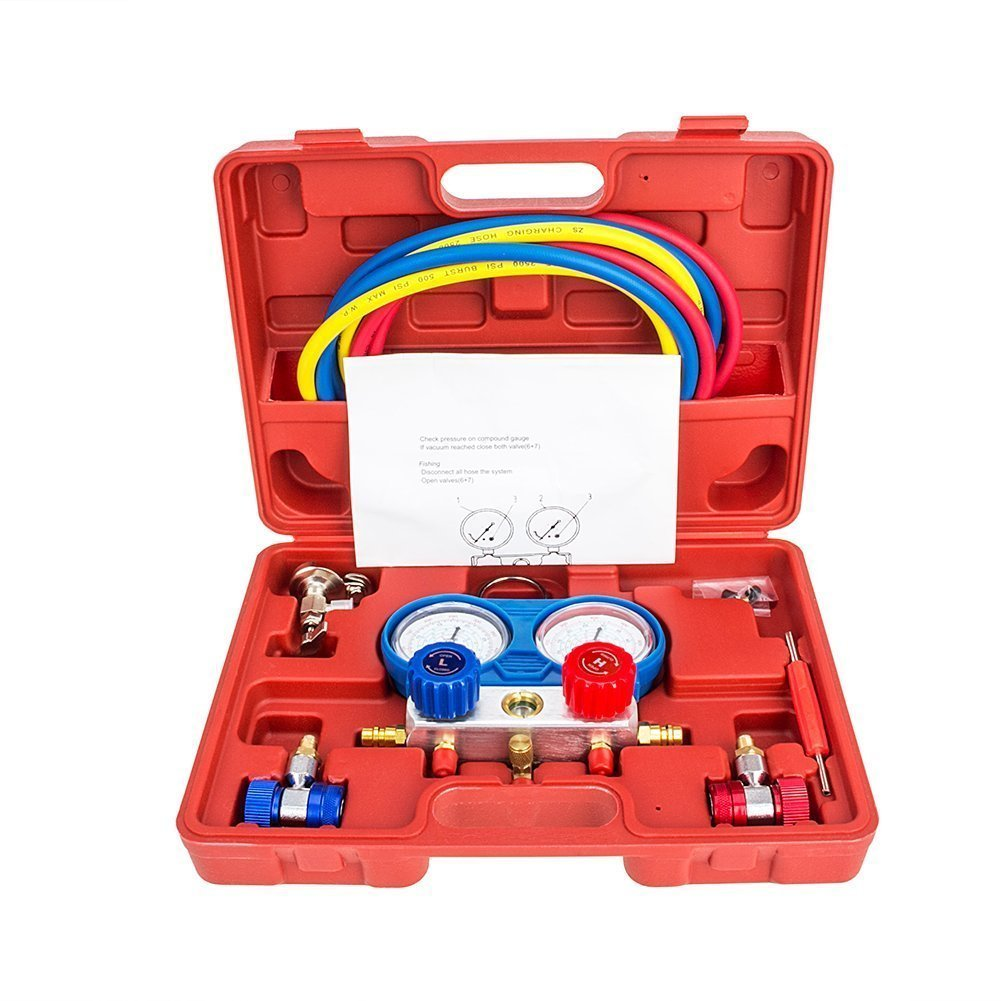 Manifold Gauge Set Diagnostic A/C Tool Kit R22 R134a R410a Refrigeration Brass Auto Service Set 5 Feet With Case, 1/4 Inch Fittings (M8003)