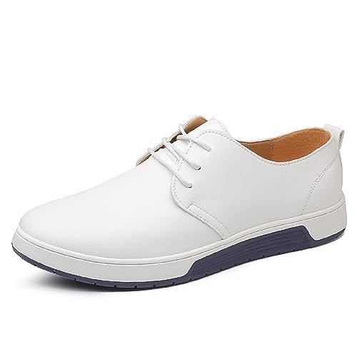 LILY999 Scarpe Stringate Basse Uomo Oxford Eleganti Brogue Derby  Vintage(Bianco 19661e90e41