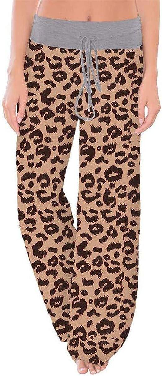 Fashion Ladies Women Leopard Print Long Palazzo Pants Loose Wide Leg Pants