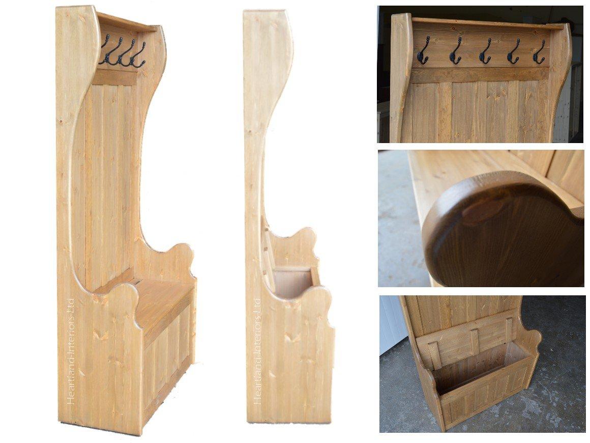 Madera de pino maciza banco de almacenamiento, 175 cm alto ...