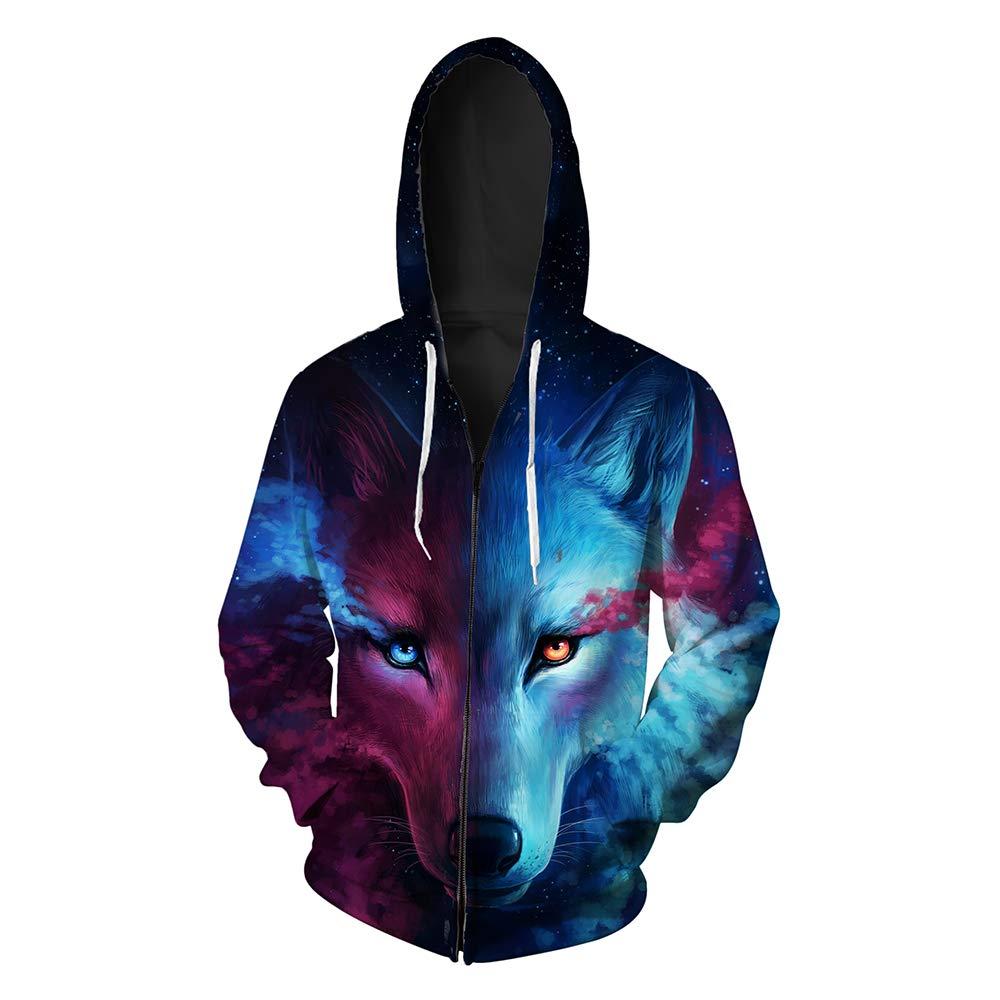 Youth Wolf Print Jackets Fleece Full Zip Hooded Hoodie Bomber Jacket Coat Black