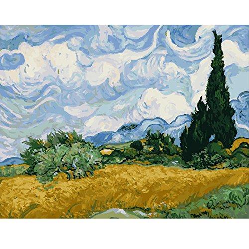 Mileelife Pintar por numeros para ninos Adultos Kit de Pintura al oleo DIY Principiante - El Famoso Cuadro de Van Gogh, Cielo 886