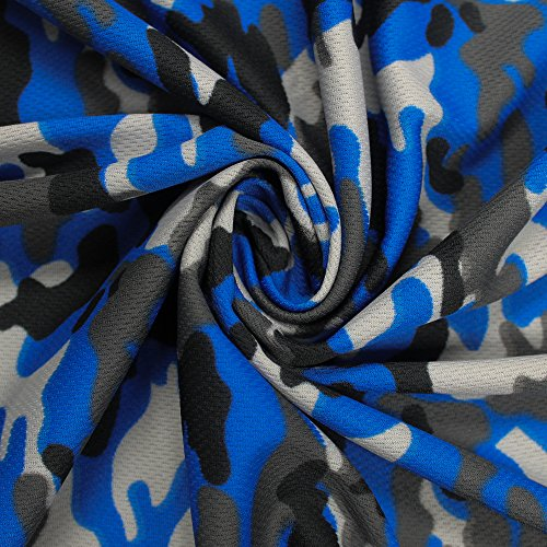 Blue Camo Fabric (Royal Camouflage Dimple Mesh Poly Stretch Sports Knit Fabric)