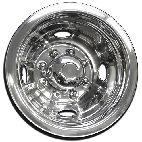 Wheel Simulators Stainless Steel 16-inch (Set of 4) 16in Dually Wheels Simulator - Truck Accessories Best for Pick-up Trucks Vans RV Hub Caps Rim Skin Chrome Cover Parts - Universal Fits 8 Lug, 4 Hole by OxGord (Image #2)