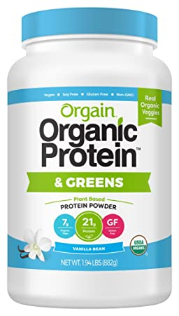 Orgain Organic Plant Based Protein Greens Powder, Vanilla Bean – Vegan, Dairy Free, Gluten Free, Lactose Free, Soy Free, Low Sugar, Kosher, Non-GMO, 1.94 Pound Packaging May Vary