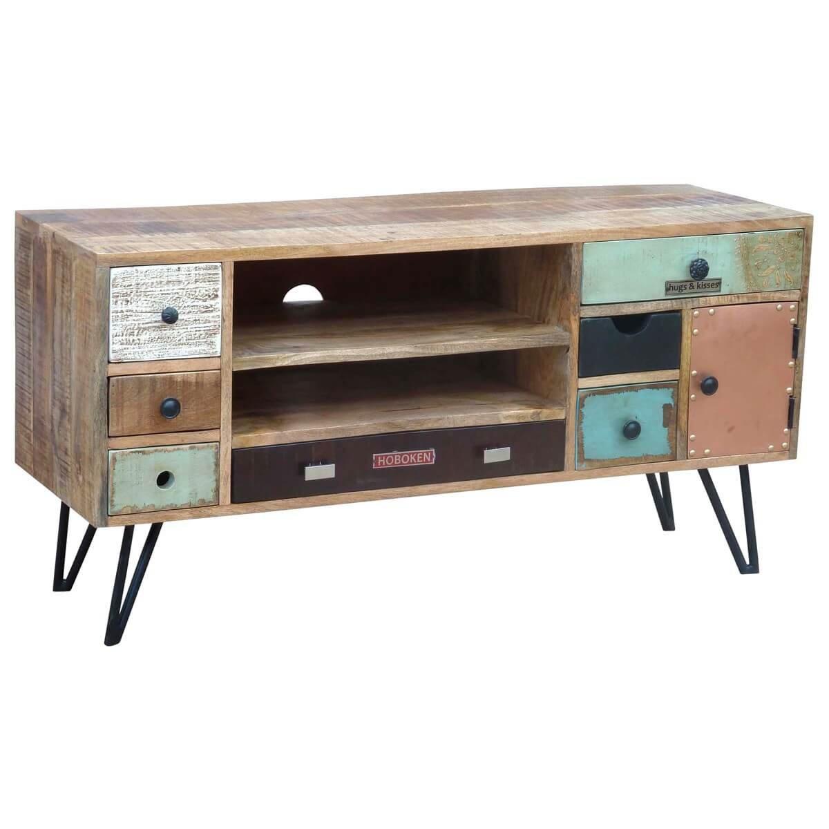 Tv board lowboard tv bank stord, vintage retro design, holz massiv ...