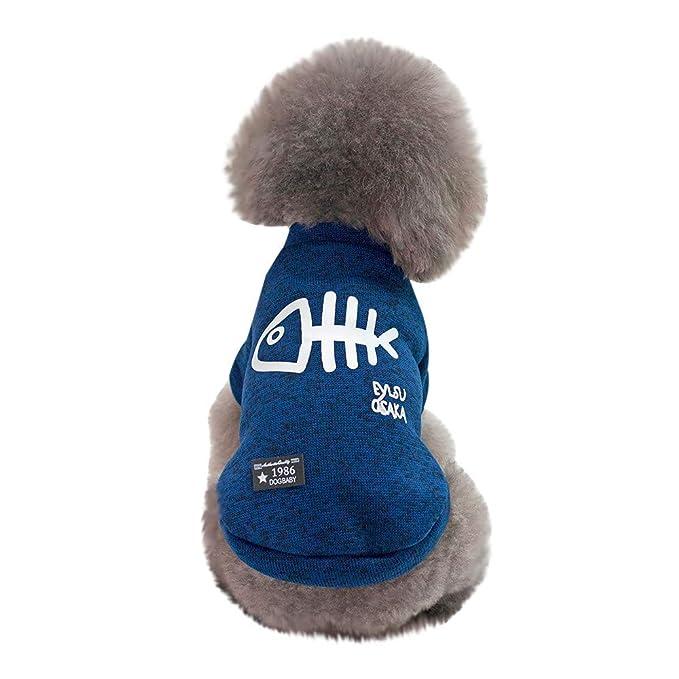 Ropa para Mascotas,Dragon868 Divertido Hueso de Pescado Impresa Mascota Perro Gato Invierno Caliente suéter Camisas: Amazon.es: Ropa y accesorios