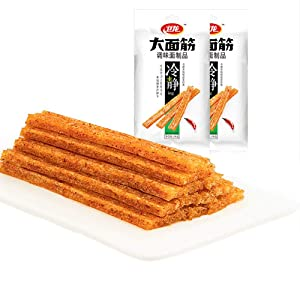 wei Long Spicy strips Gluten New Package (2 pack) Healthy Fats Chinese Delicious, Paleo Original Weilong Gluten Chewy Chilli Snacks With No Added Sugar, Ready to Eat, for Vegan