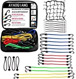 24 Piece Set w/Canopy Ties & Bonus Cargo Net with Bonus Cargo Net Cover and Canopy Ties Bungee Cord Moving Straps | Durable Rubber, Elastic Straps with Hooks | Plastic Coated Metal Hooks Attachable t