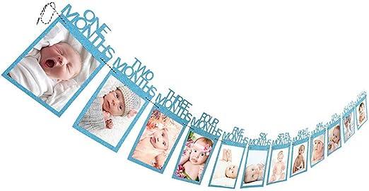 GZQ Marcos de Fotos de Papel para Bebe 1-12 Meses Azul Marcos de Fotos Cumplea/ños Colgante el Pared,Beb/é Tarjeta de Grabaci/ón de Crecimiento Guirnaldas