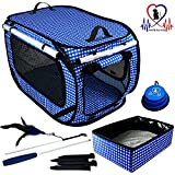 Pet Fit For Life EXTRA LARGE (32''x19''x19'') Collapsible/Portable Cat Cage/Condo with Portable Litter Box and Bonus Cat Feather Toy and Collapsible Water/Food Bowl Large - 32'' x 19'' x 19''