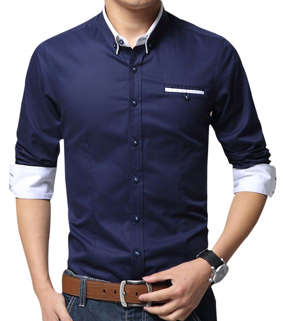 (エックスタパン) XTAPAN メンズ コットン製長袖ボタンダウンドレスシャツ カジュアル スリムフィット B074ZHSC6K US M =AS 2XL|F-dark Blue F-dark Blue US M =AS 2XL