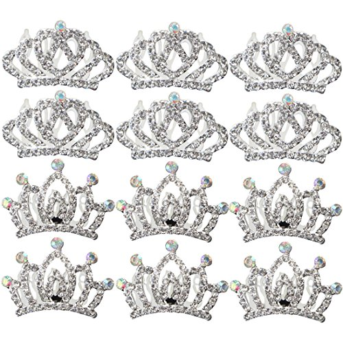 kilofly 12pc Princess Party Favor Crown Crystal Rhinestone Tiara Hair Comb (Wholesale Tiara)