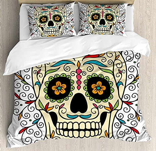 Sugar Skull Decor Duvet Cover Set Full Size, Catrina Calavera Featured Figure Ornaments Macabre Remember The Dead,Lightweight Microfiber Duvet Cover Sets, Multicolor -