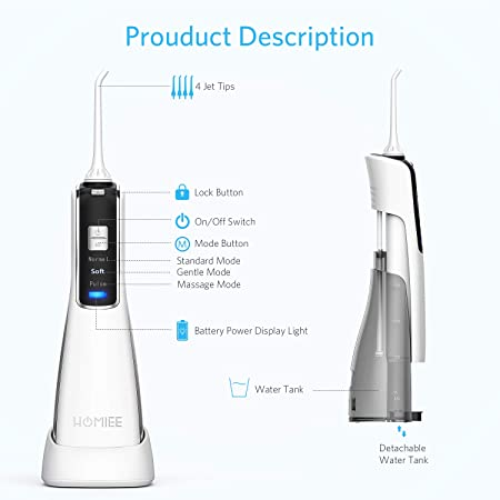 HOMIEE Water Flosser, Cordless Dental Flosser Wireless Rechargeable Oral Irrigator IPX7 Waterproof 3 Modes with 4 Jet Tips for Braces and Dental Care, Travel and Home Use, Including Carrying Pouch