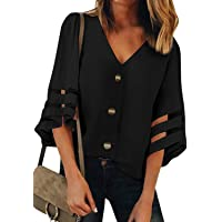 BLENCOT Women's Button Down 3/4 Bell Sleeve Lace Chiffon Blouse Casual Loose Shirt Tops