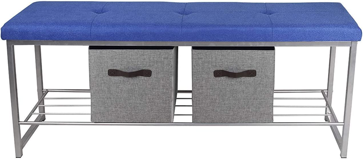 GIA B06-BLU-LGR_VC Bench with 2-Storage Cubes, Blue Fabric Seat Light Gray Frame