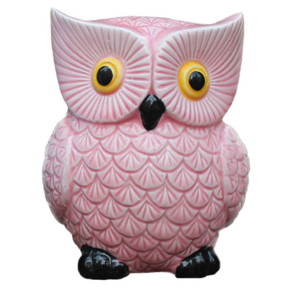 ZCHING Cute Owl Ceramic Piggy Bank Personalized Money Saving Bank for Kids Girls Nursery Gift Decor (green)