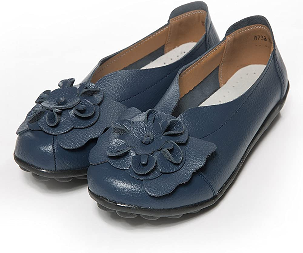 Sandals Womens Shoes Lady Flats Sandals Leather Ankle Casual Slipper Soft Shoes Dark Blue Pandaie Womens ..