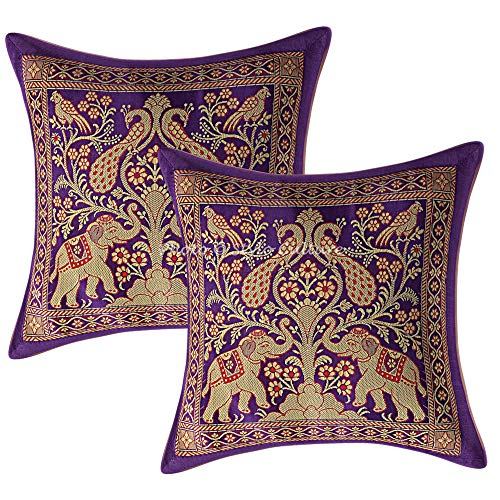 Stylo Culture Ethnic Decorative Sofa Pillow Cases 12x12 Set of 2 Purple Banarsi Brocade Jacquard Bedroom Cushion Covers Elephant Peacock 30x30 cm Pillow Cases