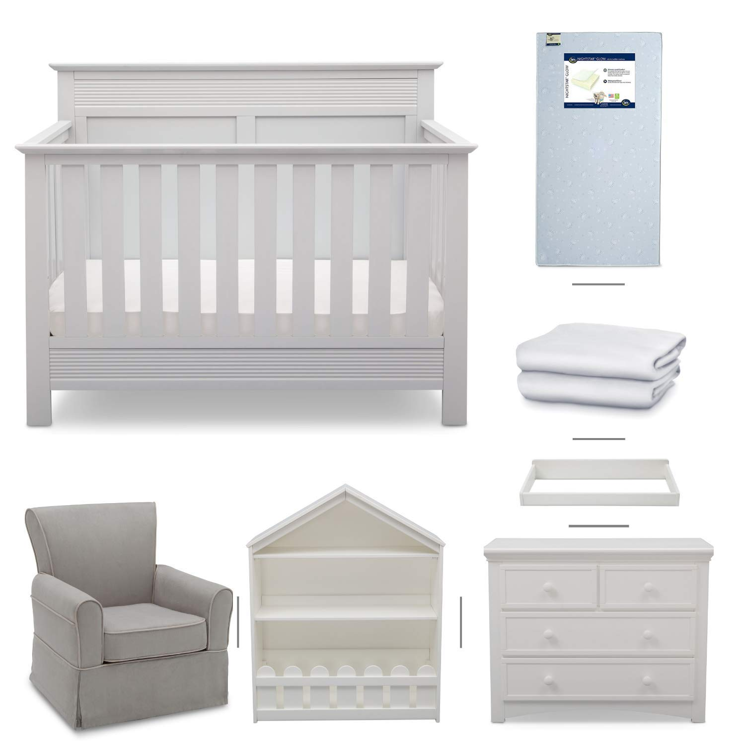 Crib Furniture - 7 Piece Nursery Set with Crib Mattress, Convertible Crib, Dresser, Bookcase, Glider Chair, Changing Top, Crib Sheets, Serta Fall River - White/Dove Gray by Delta Children