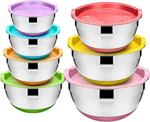 WEZVIX Stainless Steel Mixing Bowl Set of 7 Nesting Bowls with Colorful Silicone Bottom, Measurements Marks and Airtight Lids Dishwasher Safe - 7-5-4-3.5-2.5-2-1.5 QT